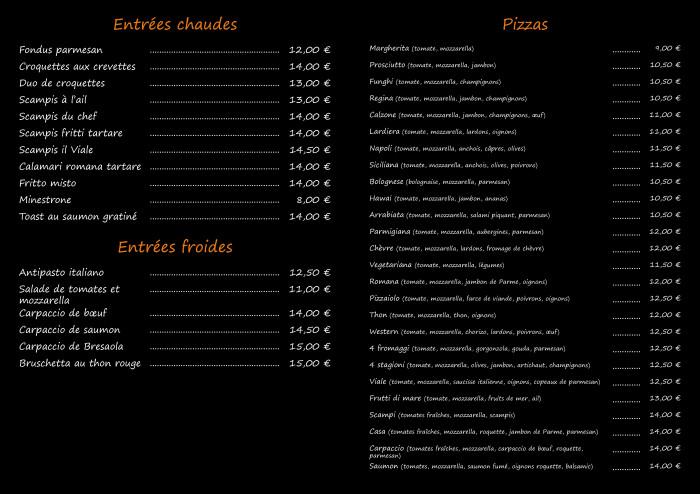 Il Viale restaurant_Carte plats(1)