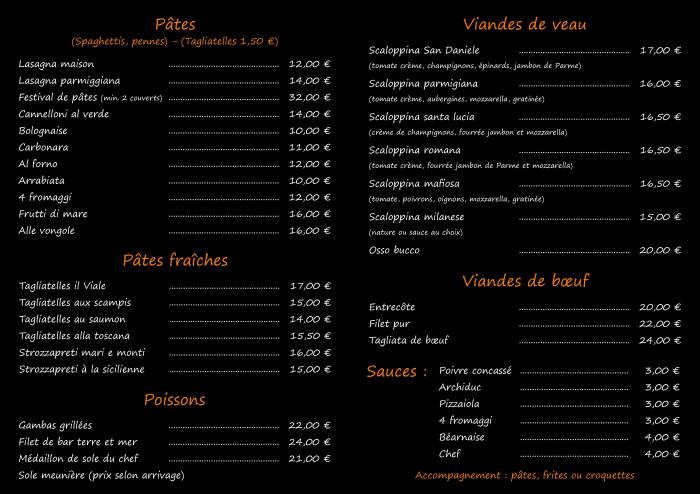 Il Viale restaurant_Carte plats(2)