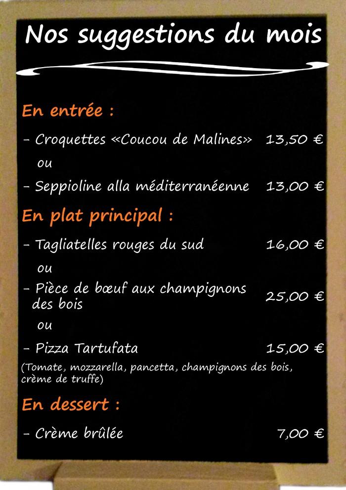 Restaurant il Viale_Suggestions décembre 2017