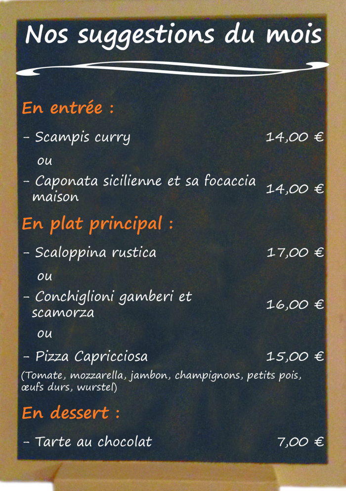 Restaurant il Viale_Suggestions mars 2018