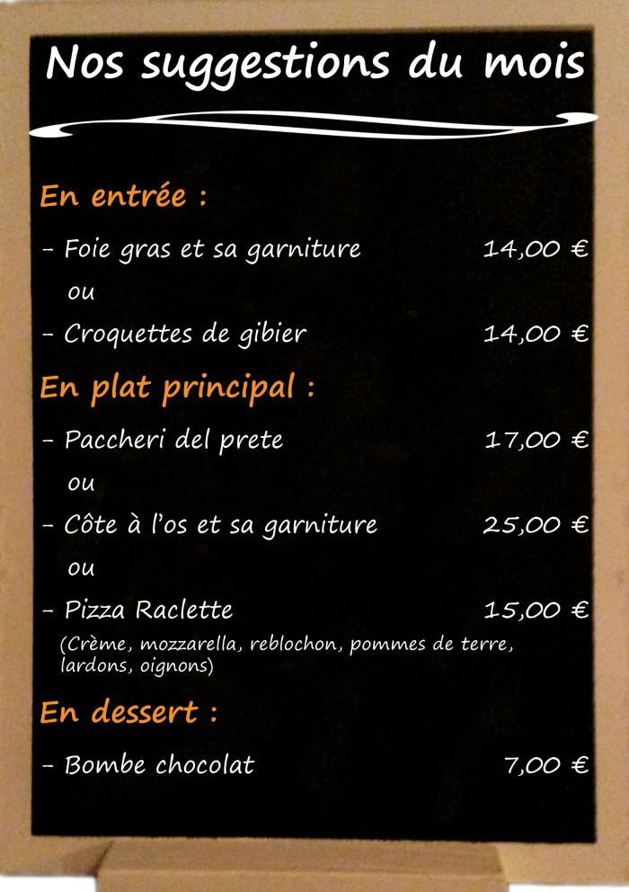 Restaurant il Viale_Suggestions décembre 2018